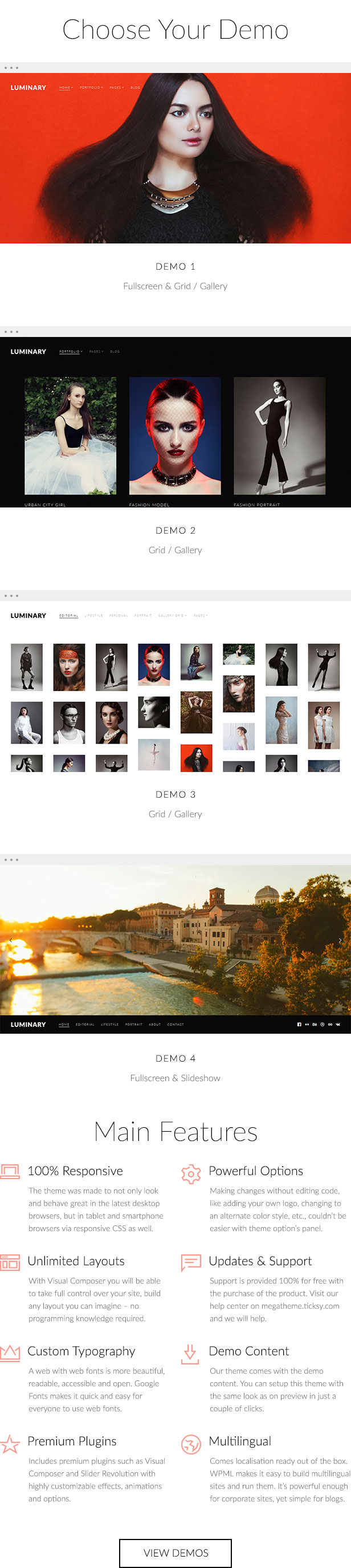 Luminary - Portfolio / Photography WordPress Theme